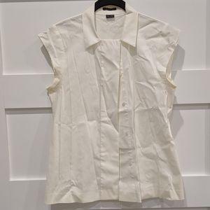 Theory white button down flair shirt short small